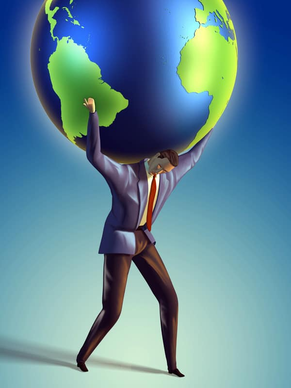 Businessman with World on Shoulders