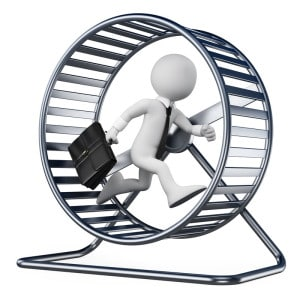 small business owner on hamster wheel