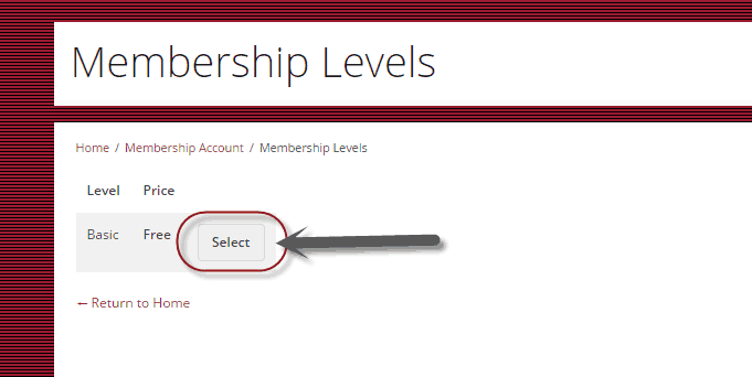 Membership Level selection